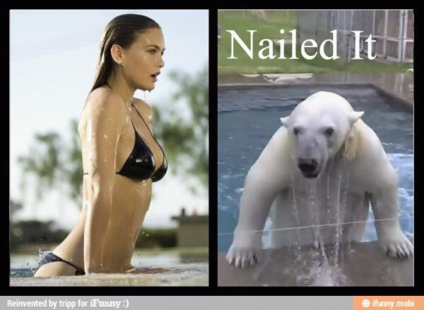 Nailed-it Meme beauty getting out of the water
