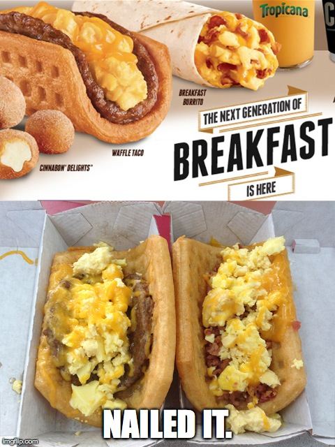 Nailed-it Meme waffle taco breakfast