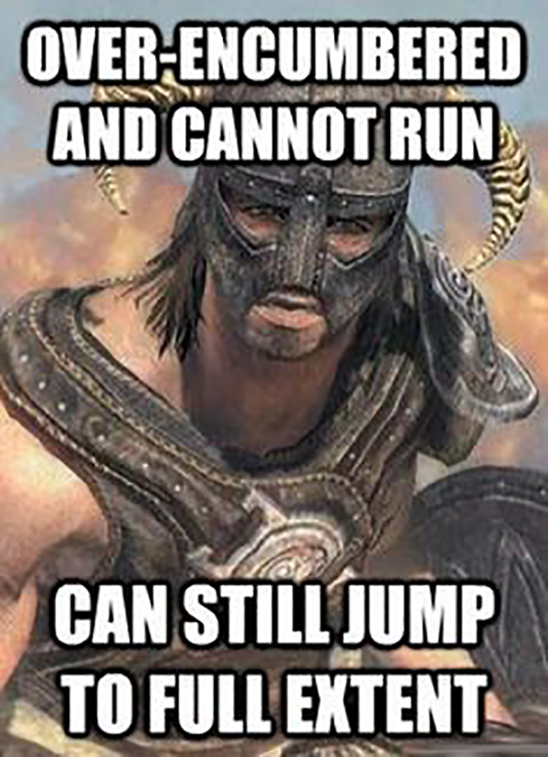 Best Video Game Memes - over encumbered and cannot run