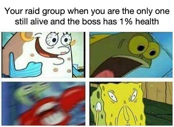 Hilarious Video Gaming Memes - your raid group when youre the only one still alive