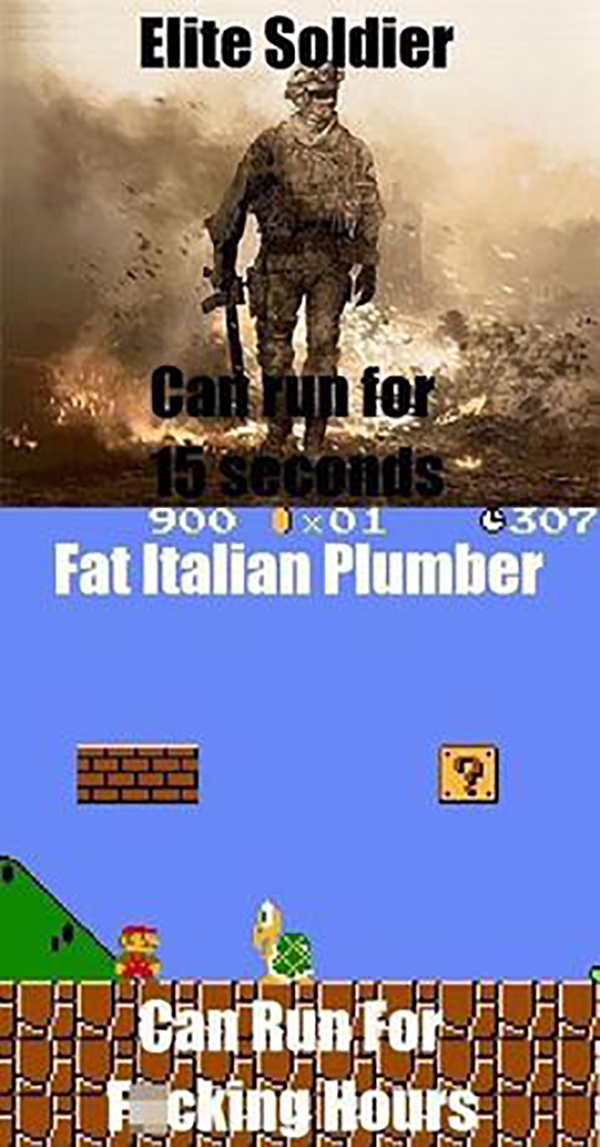 funny video game memes Elite Soldier VS Fat Italian Plumber