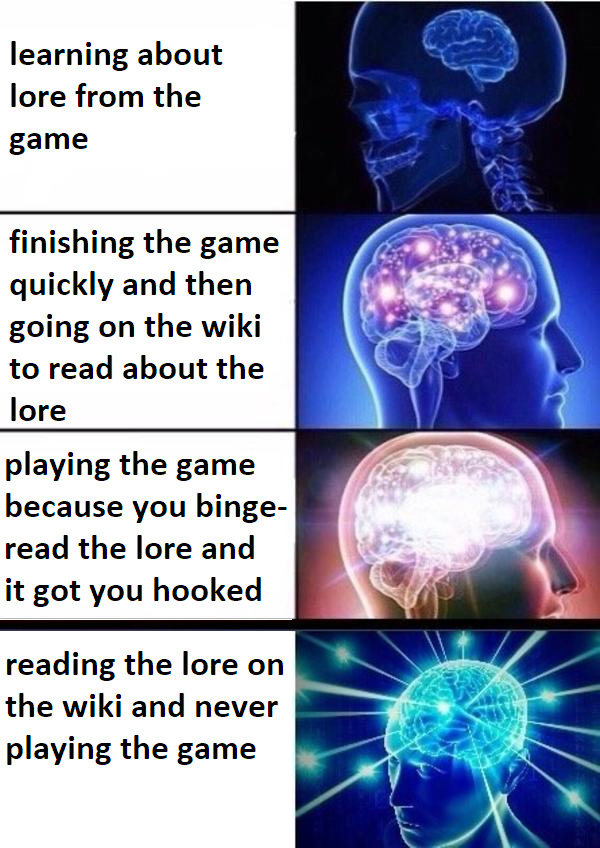 Hilarious Video Gaming Memes - learning about lore from the game vs read about it on the wiki