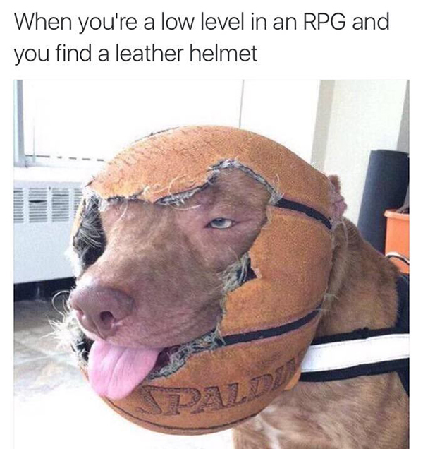 Hilarious Video Gaming Memes - low level helmet in an rpg