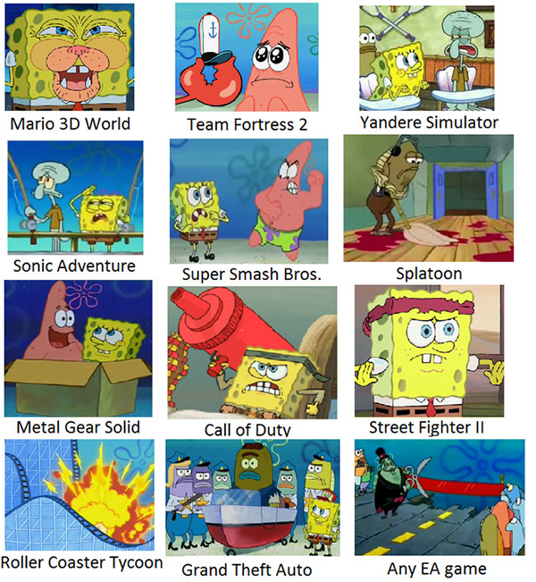 Hilarious Video Gaming Memes - more squarepants doing video games